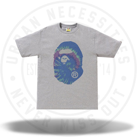 BAPE Pigment Tie Dye Big Ape Head Tee Grey/Blue-Urban Necessities