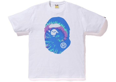 BAPE Pigment Tie Dye Big Ape Head Tee White/Blue-Urban Necessities