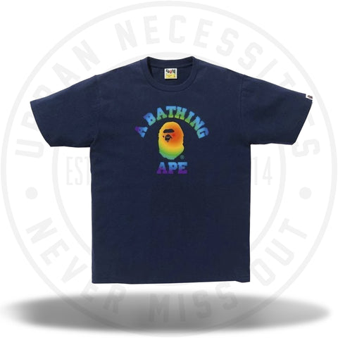 BAPE Rainbow College Tee Navy-Urban Necessities