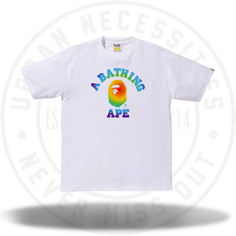 BAPE Rainbow College Tee White-Urban Necessities
