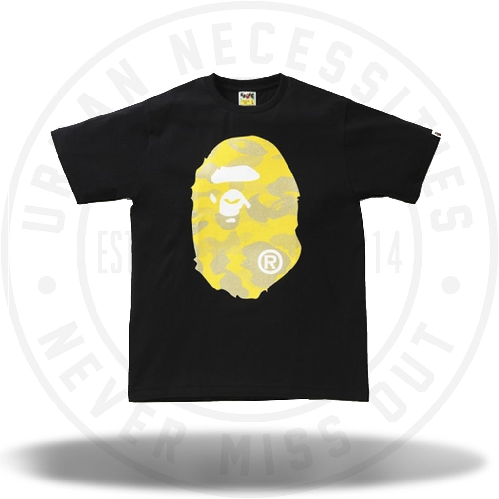 BAPE Reflection Camo Big Ape Head Tee Black/Yellow-Urban Necessities
