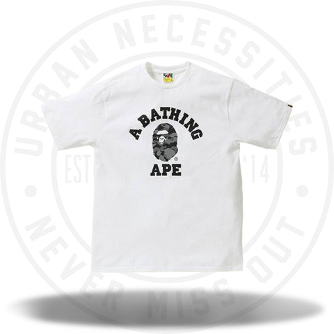 Bape Reflection Camo College Tee White/Black-Urban Necessities