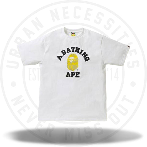 Bape Reflection Camo College Tee White/Yellow-Urban Necessities