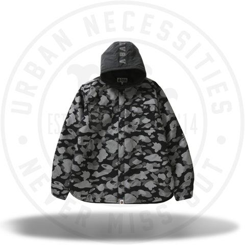 BAPE Reflection Camo Hoodie Shirt Jacket Black-Urban Necessities