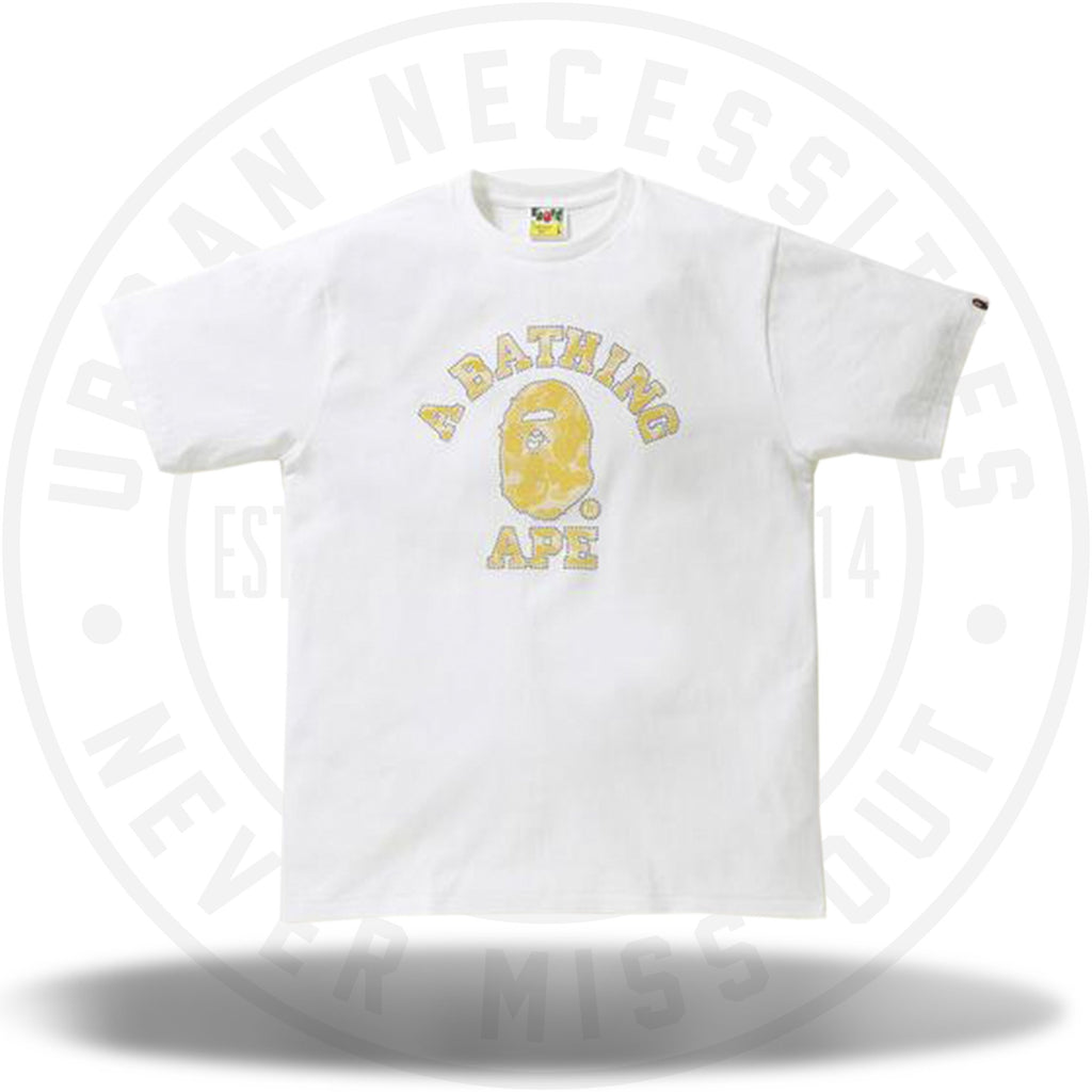 Bape Reflector Noise ABC Camo College Tee White/Yellow-Urban Necessities