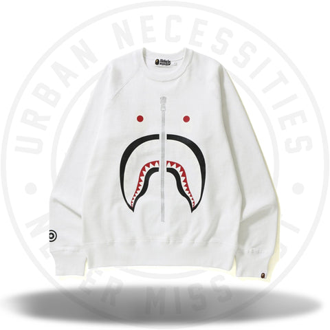BAPE Shark Crewneck White-Urban Necessities