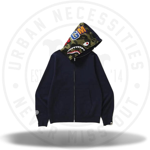 Bape Shark Full Zip Hoodie Navy-Urban Necessities