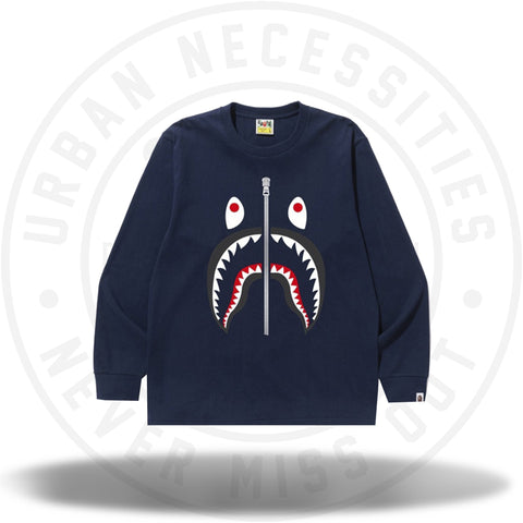 BAPE Shark L/S Tee Navy-Urban Necessities