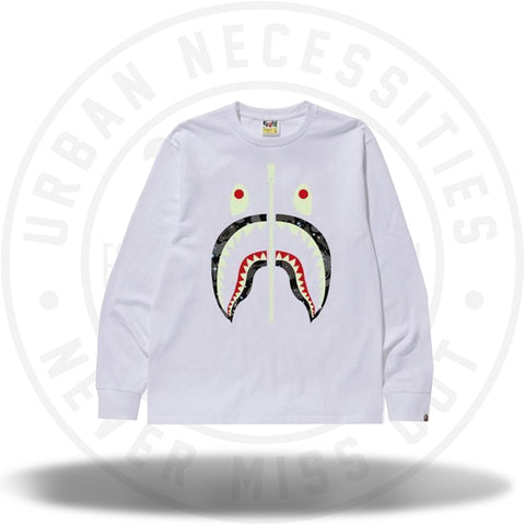 BAPE Space Camo Shark LS Tee White-Urban Necessities