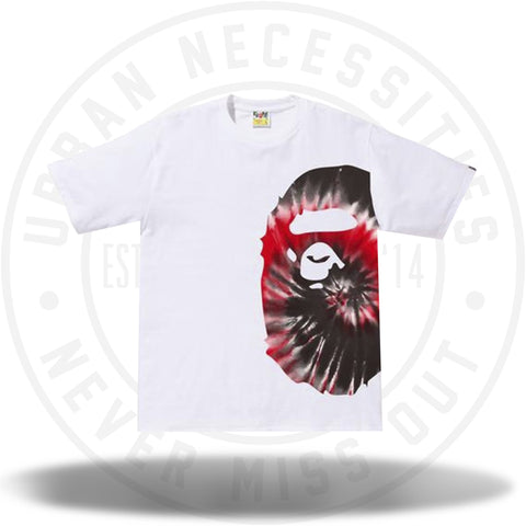 BAPE Tie Dye Side Big Ape Head Tee White/Red-Urban Necessities