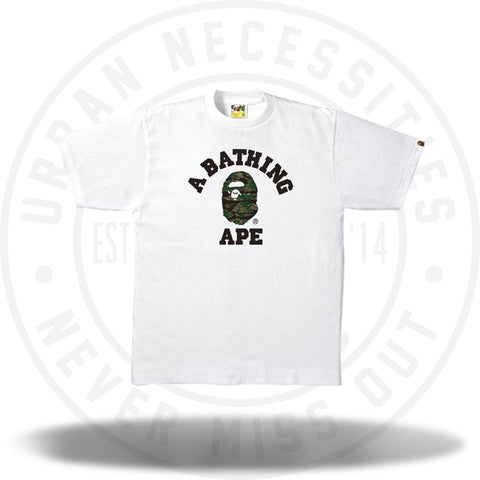Bape Tiger Camo College Tee White/Black-Urban Necessities
