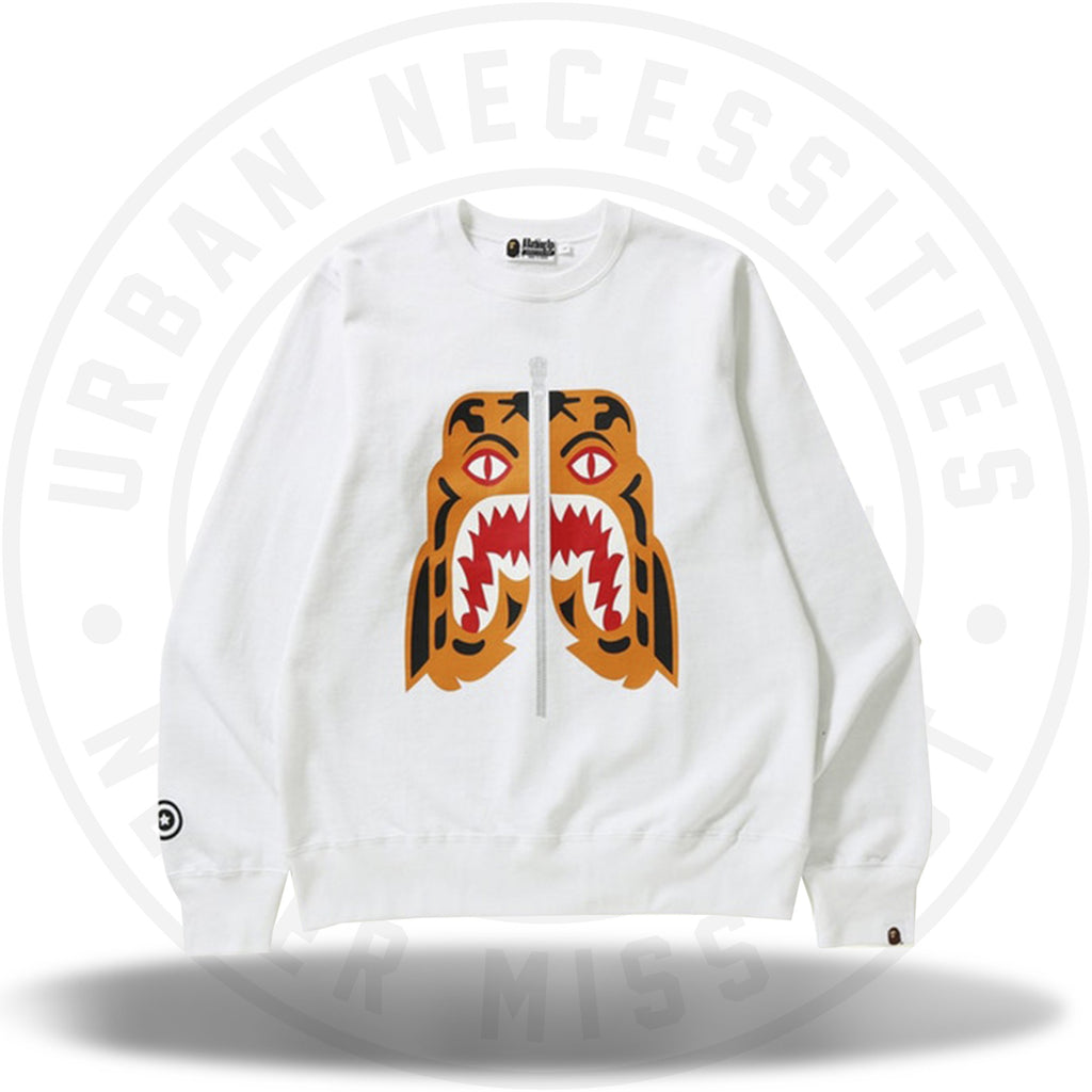 BAPE Tiger Crewneck White-Urban Necessities