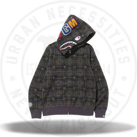 Bape Undefeated Check Shark Hoodie Black-Urban Necessities