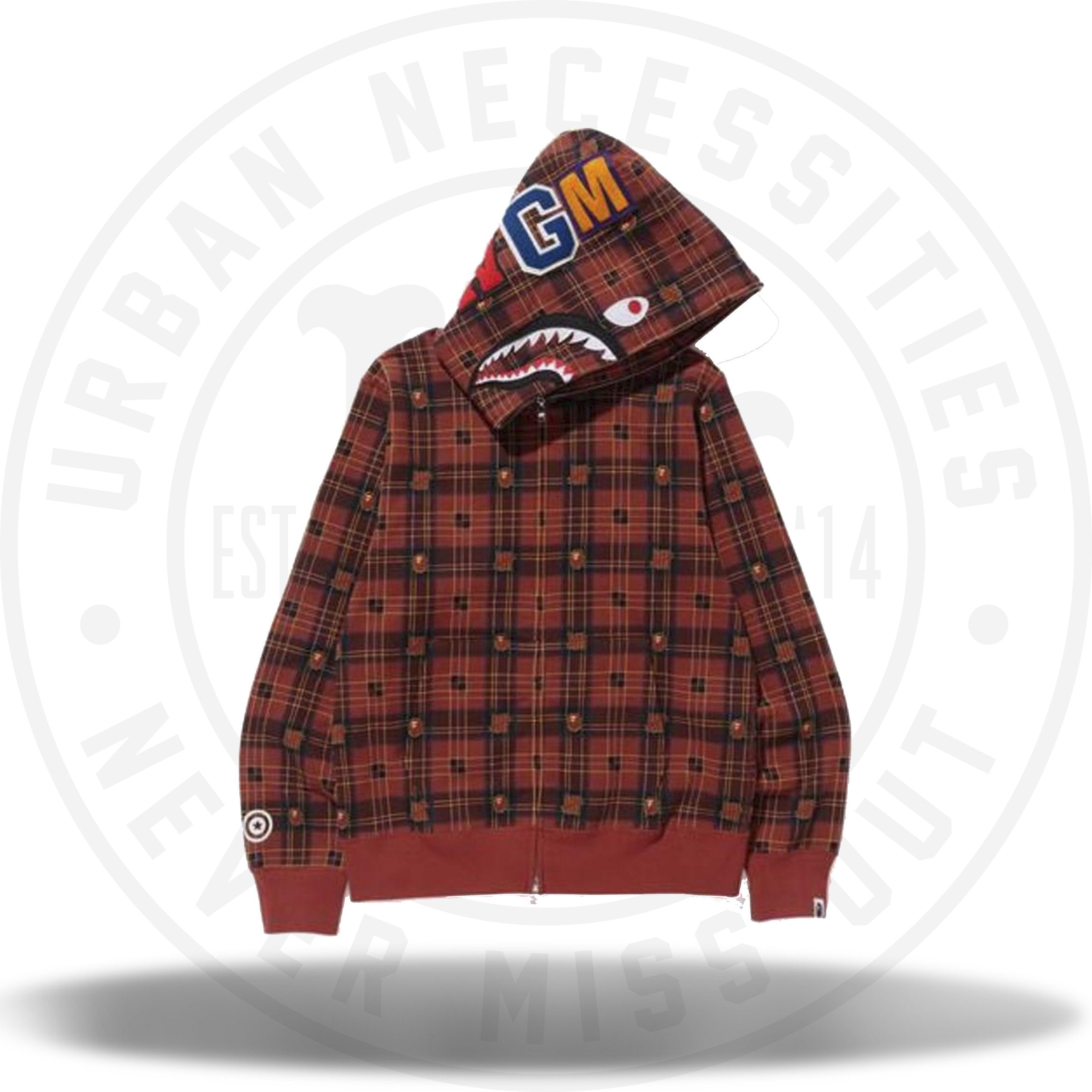 Bape Undefeated Check Shark Hoodie Red Urban Necessities