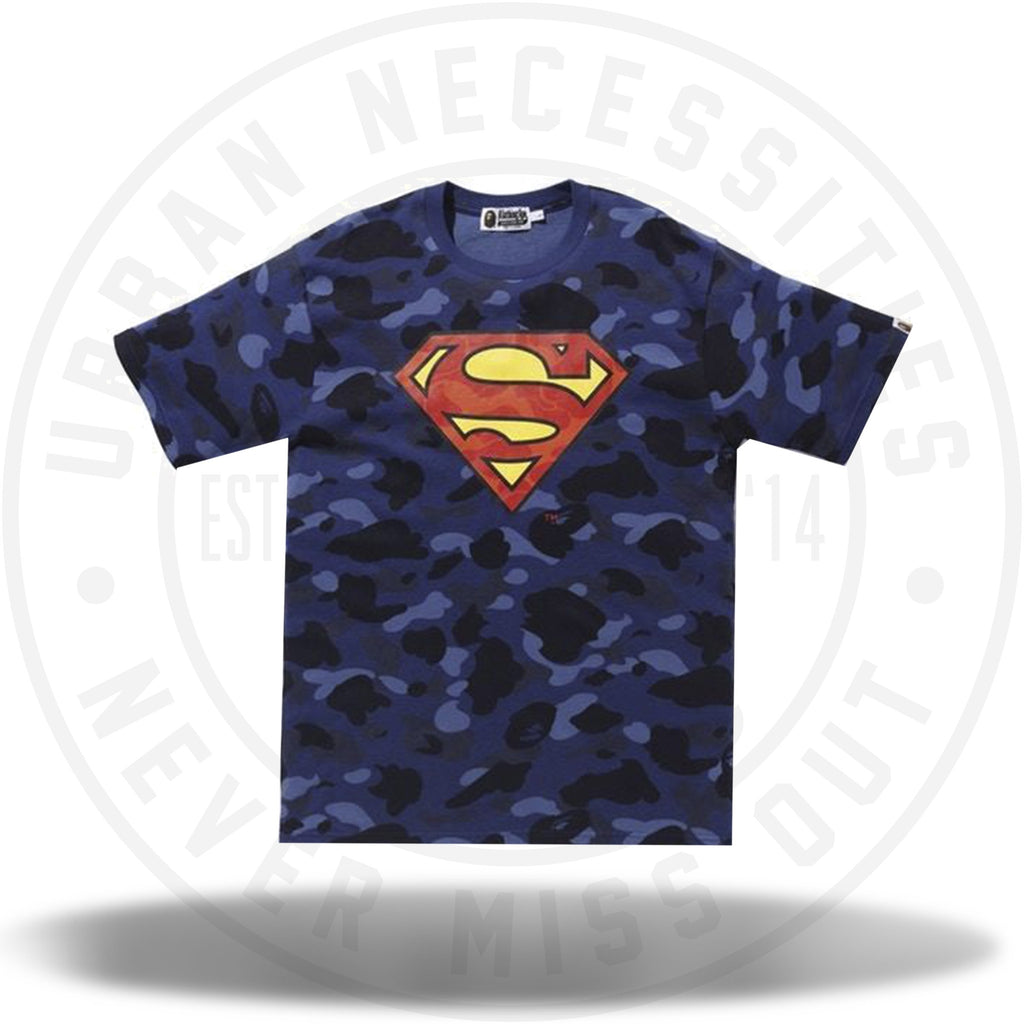 BAPE x DC Superman Color Camo Tee Navy-Urban Necessities