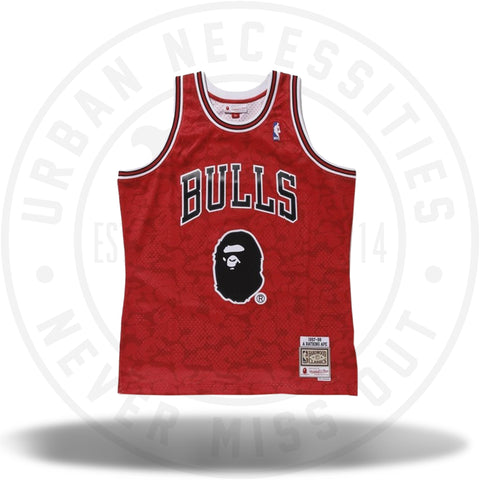 Bape x Mitchell and Ness Bulls ABC Basketball Swingman Jersey Red-Urban Necessities