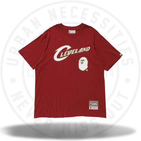Bape x Mitchell and Ness Cavs Tee Burgundy-Urban Necessities