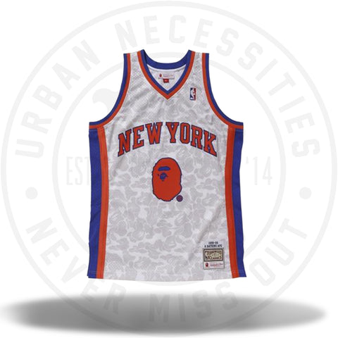 Bape x Mitchell and Ness Knicks ABC Basketball Swingman Jersey White-Urban Necessities