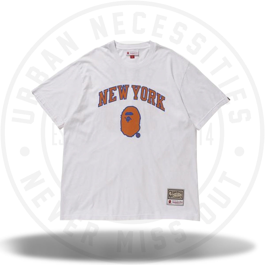Bape x Mitchell and Ness Knicks Tee White-Urban Necessities