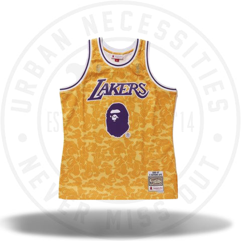 Bape x Mitchell and Ness Lakers ABC Basketball Swingman Jersey Yellow-Urban Necessities