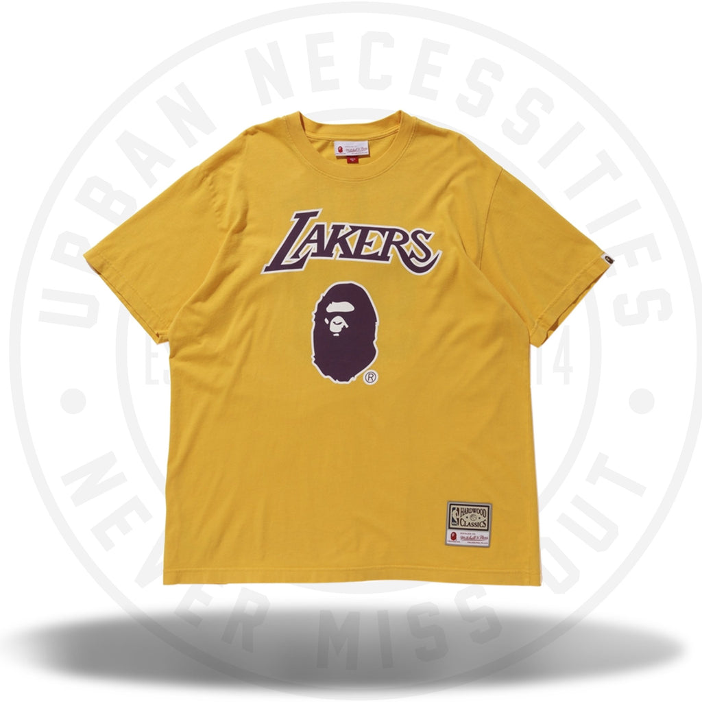 Bape x Mitchell and Ness Lakers Tee Yellow-Urban Necessities