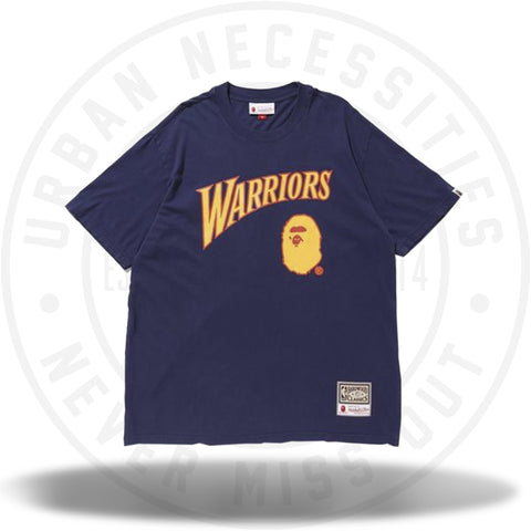 Bape x Mitchell and Ness Warriors Tee Navy-Urban Necessities