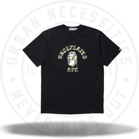 Bape x Undefeated Green ABC Camo College Tee Black-Urban Necessities