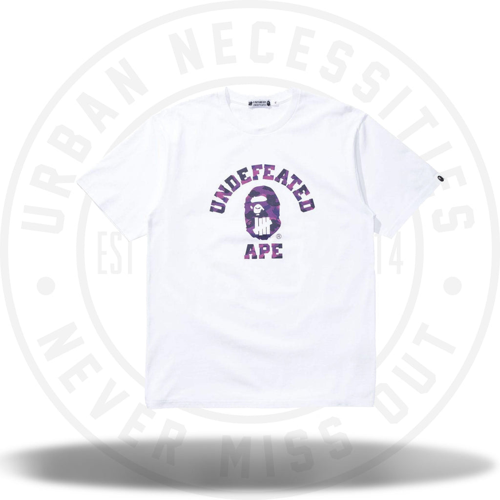 Bape x Undefeated Purple Color Camo College Tee White-Urban Necessities