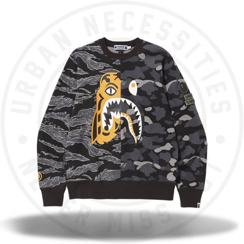 Bape x Undefeated Tiger Shark Half Crewneck Black-Urban Necessities
