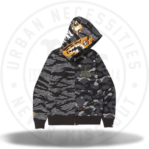 Bape x Undefeated Tiger Shark Half Full Zip Hoodie Black-Urban Necessities