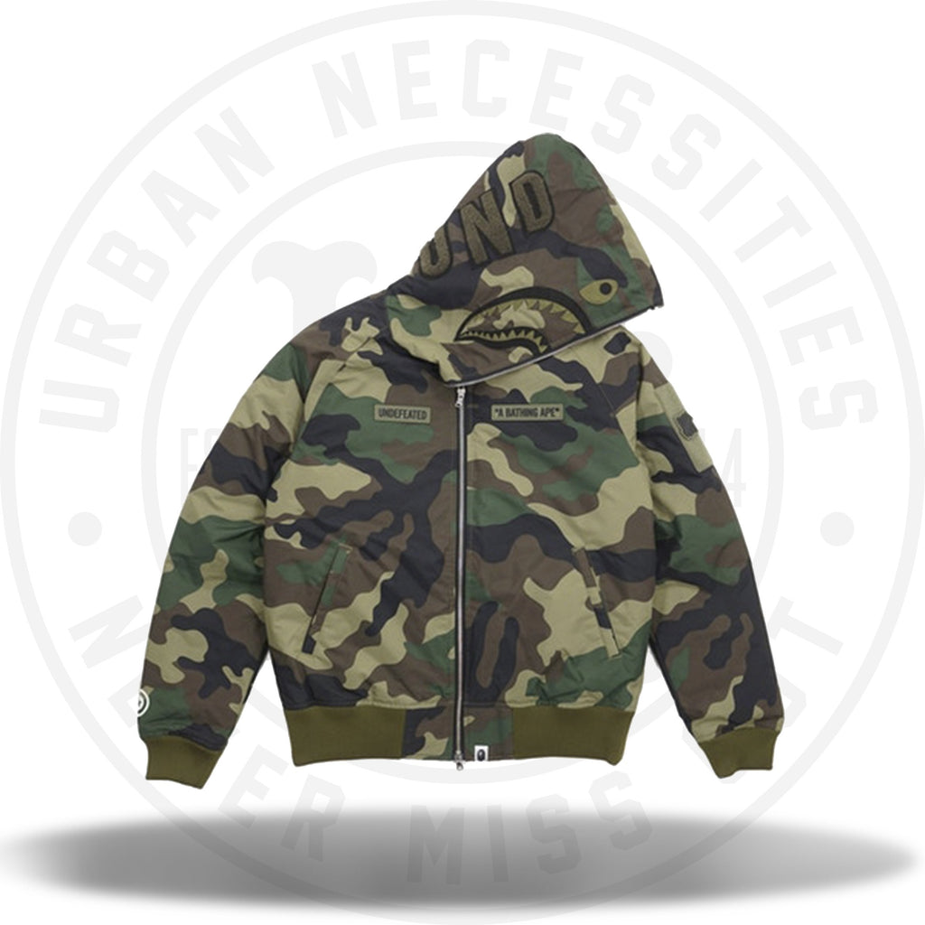 Bape x Undefeated Woodland Camo Shark Down Full Zip Jacket-Urban Necessities