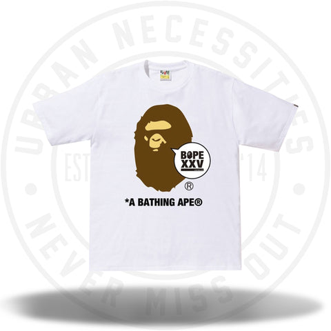 BAPE XXV Ape Head Tee White-Urban Necessities