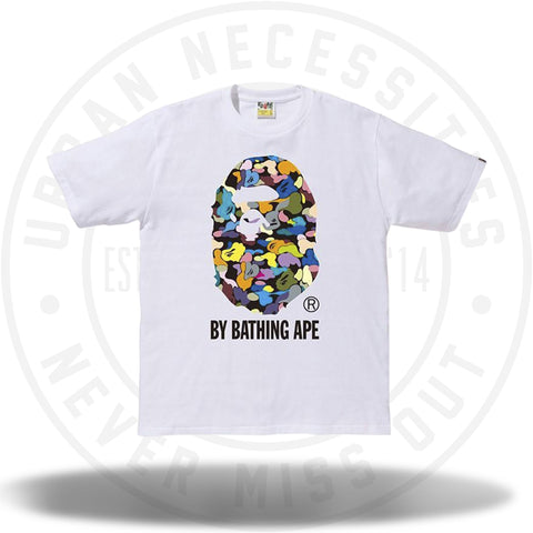 Bathing Ape Multi Camo Big Ape Head Tee White-Urban Necessities