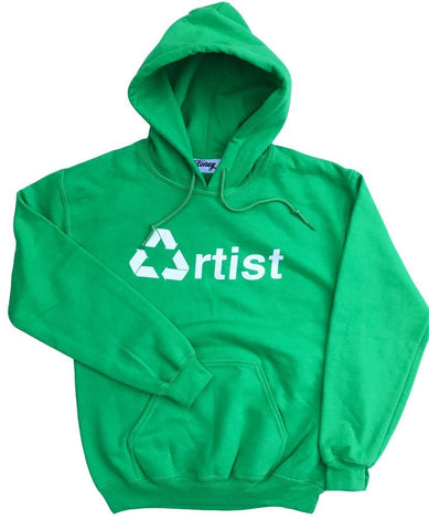 Cloney Recycled Artist Hoodie in Green-Urban Necessities
