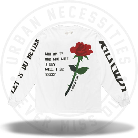 Kid Cudi Rose L/S Tee White-Urban Necessities