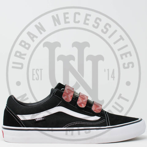 Kuhvit Custom Vans Old Skool Pro in Black With Red Goyard Velcro Straps-Urban Necessities