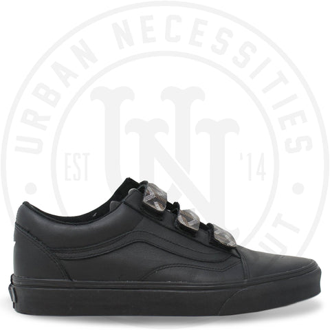 Kuhvit Custom Vans Old Skool V Mono Leather Shoes Black With Black Goyard Straps-Urban Necessities