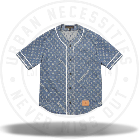 Louis Vuitton Supreme Jacquard Denim Baseball Jersey Blue-Urban Necessities
