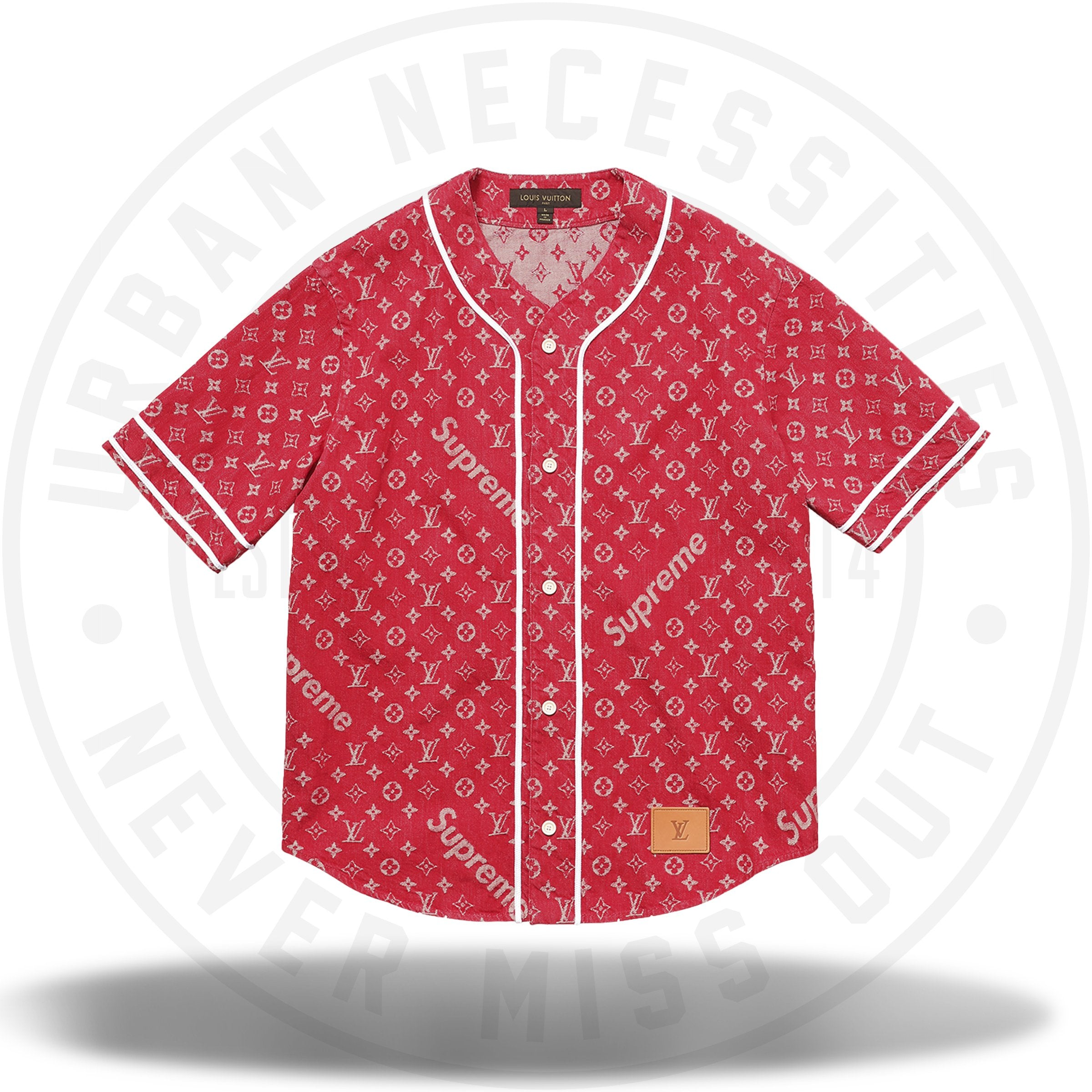 Louis Vuitton Supreme Jacquard Denim Baseball Jersey Red