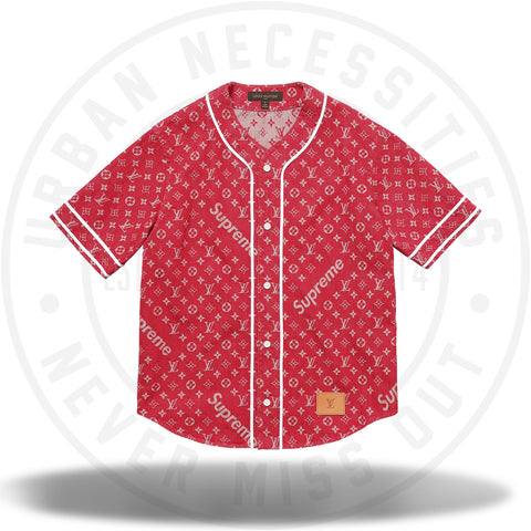 Louis Vuitton Supreme Jacquard Denim Baseball Jersey Red-Urban Necessities