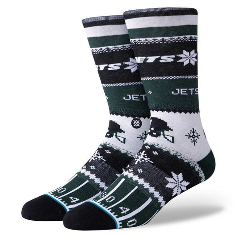 Men's New York Jets Stance Holiday Sweater Crew Socks-Urban Necessities