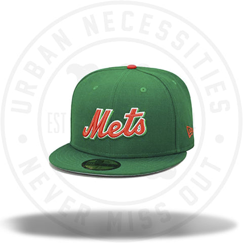 New Era Mets MLB Fitted Hat Cap Kelly Green/Orange-Urban Necessities