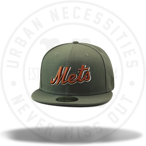 New Era Mets MLB Fitted Hat Olive Green/Copper-Urban Necessities