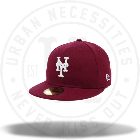 New Era New York Mets MLB Fitted Hat Cap All Cardinal Red/White-Urban Necessities