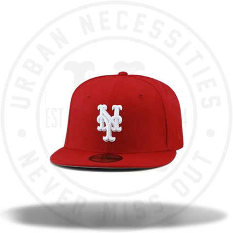 New Era New York Mets MLB Fitted Hat Cap All Red/White-Urban Necessities