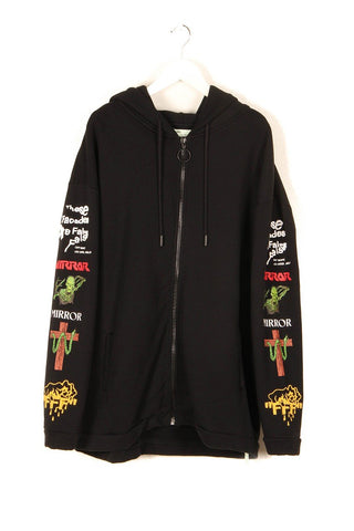Off White Mix Rock Hoodie Black-Urban Necessities