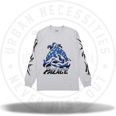 Palace Sketchy Dolphin Long Sleeve Tee Grey-Urban Necessities