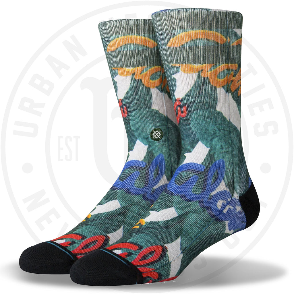 Stance Classic Crew Socks Aloha Leaves Green-Urban Necessities