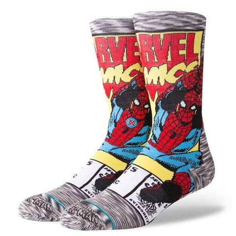 Stance Marvel Socks Spiderman Comic Grey-Urban Necessities