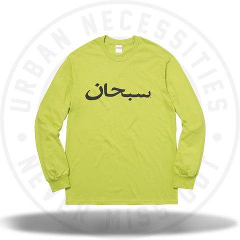 Supreme Arabic Logo L/S Tee Lime-Urban Necessities